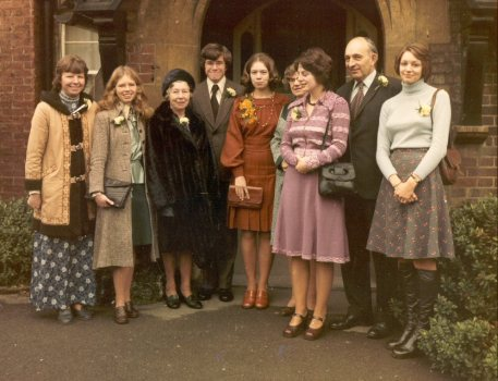 Us, having wed, 27th December 1975. L to R: Sheila & Maureen (my sisters), Mum, T&S, Sue, Molly, Peter, Pam (Sonia's parents and sisters).